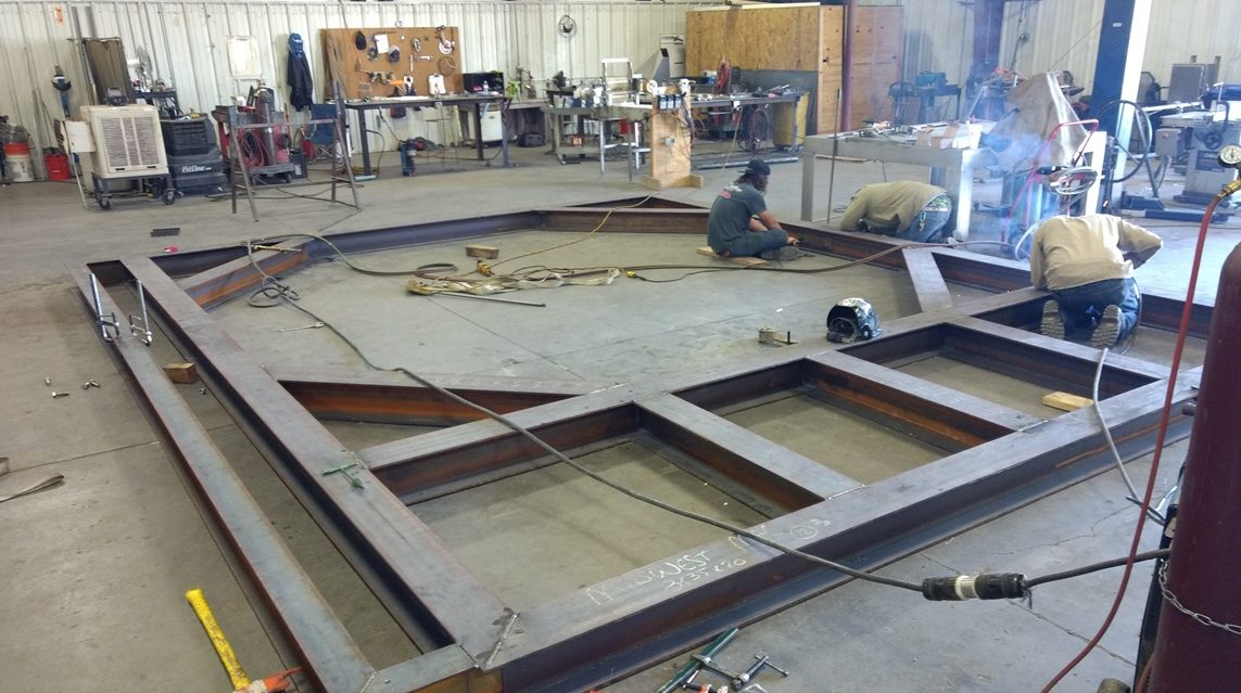 Photo of an oil blending tank platform being fabricated