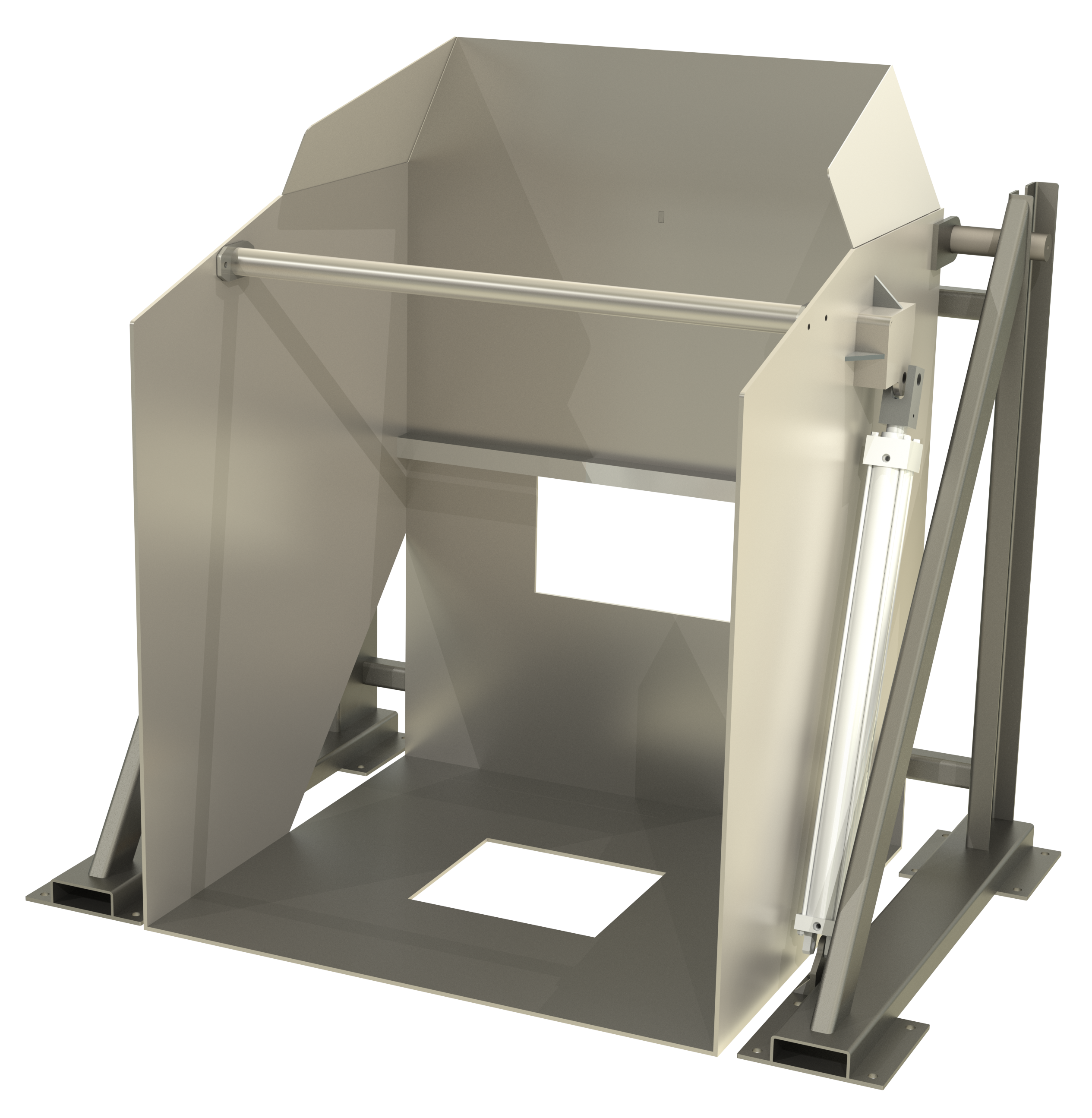 3D rendering of a stainless combo dump